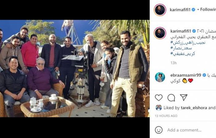 """يحيى الفخرانى فى صورة من كواليس """"نجيب زاهى زركش"""" بعد شائعة إصابته بكورونا"""