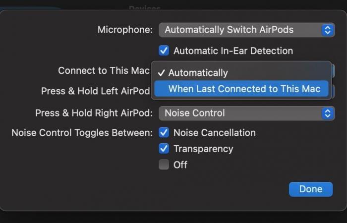 كيفية إيقاف ميزة التبديل التلقائي لسماعات AirPods في حاسوب ماك