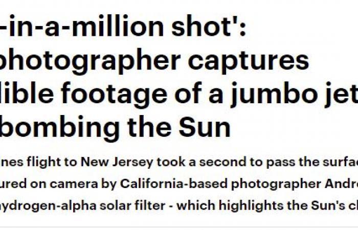 فيديو .. لقطة مذهلة لطائرة ضخمة وهي تخترق الشمس