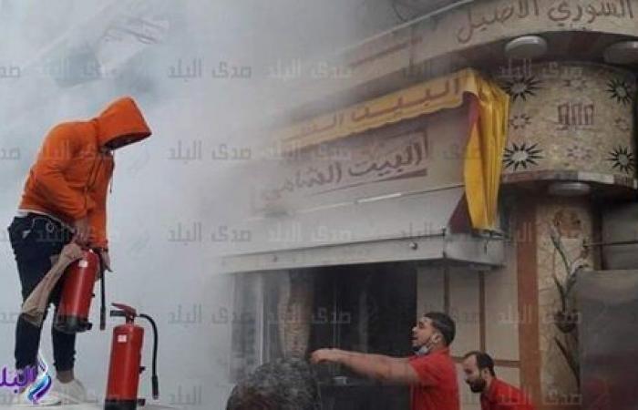 اندلاع حريق في مطعم وسط الإسكندرية دون إصابات.. شاهد