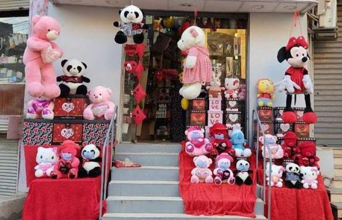 صاحب محل هدايا بالأقصر يضع كمامات على دباديب عيد الحب لتوعية المواطنين | صور