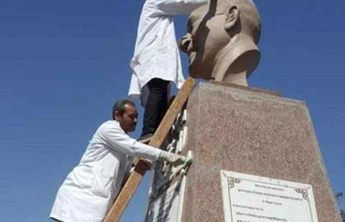 الآثار تبدأ حملات تنظيف تماثيل الرموز المصرية بالمحافظات