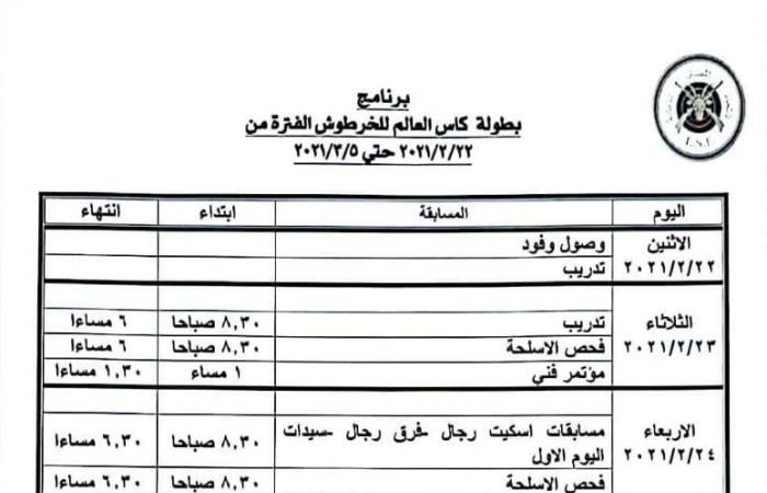 تعرف على جدول منافسات بطولة كأس العالم للرماية بمصر
