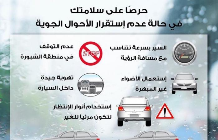تعرف على نصائح الداخلية للقيادة الأمنة مع سوء الأحوال الجوية.. انفوجراف