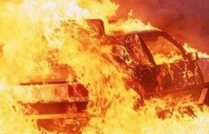 لقطات مرعبة لتفحم 6 سيارات بعد اصطدامها أعلى الدائري الأوسطي بحلوان | فيديو