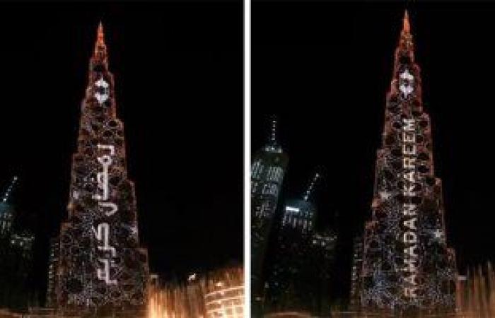 برج خليفة فى دبى يحتفى بحلول شهر رمضان بعرض مذهل.. فيديو