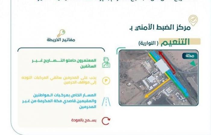أمن الطرق يوضح إرشادات مرور حاملي تصاريح العمرة عبر مركز التنعيم