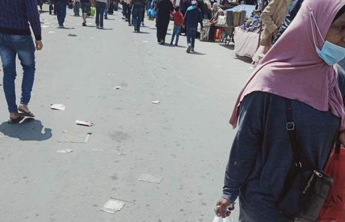 رغم انتشار كورونا.. ازدحام وتكدس في أسواق الإسكندرية