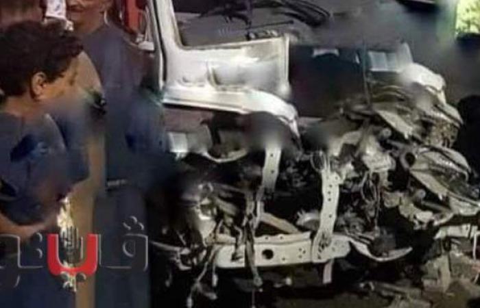 أول صور من حادث تصادم ميكروباص بجرار زراعي في الأقصر
