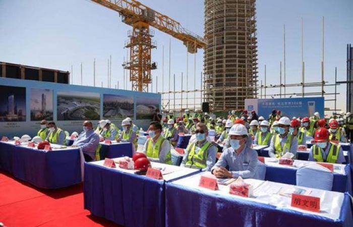 الانتهاء من الهيكل الخرسانى للبرج العاشر فى العاصمة الإدارية بطول 174 متر