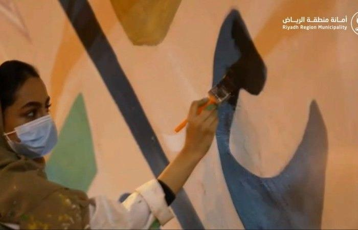 «أمانة الرياض» تجمّل جداريات نفق تقاطع طريقي الملك خالد والأمير عبدالعزيز بن ثنيّان
