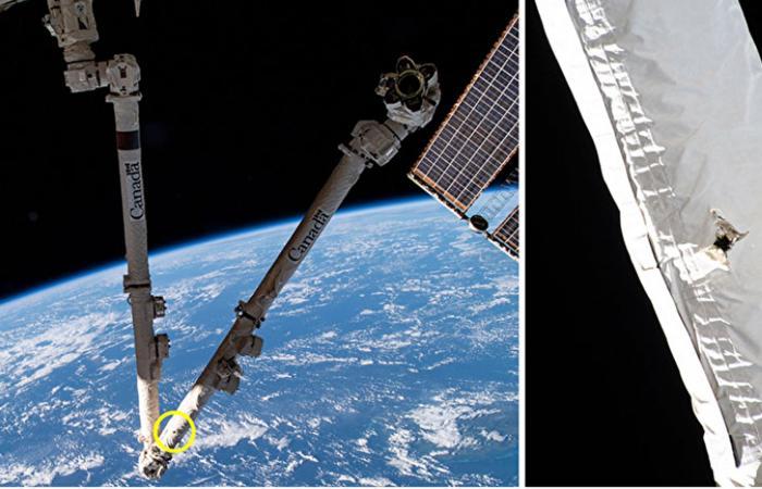 شظية فضائية تصيب الذراع الآلية لمحطة الفضاء الدولية