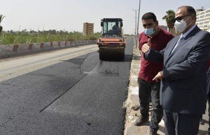 رصف الطريق الدائري وتطوير شوارع حي غرب أسيوط   فيديو
