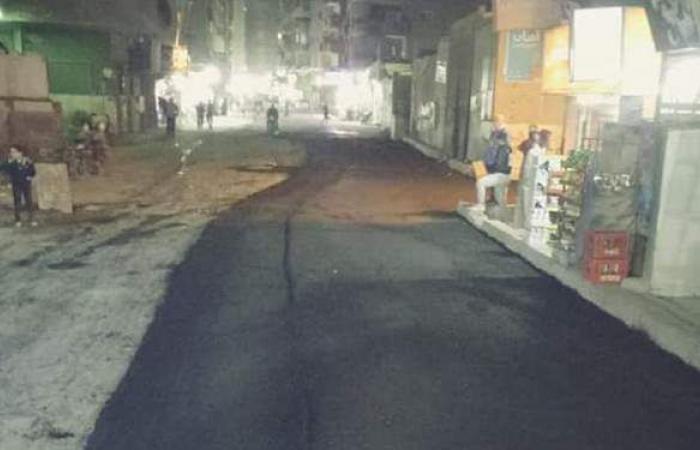 رصف شارع المعهد الديني بحي الوراق | صور