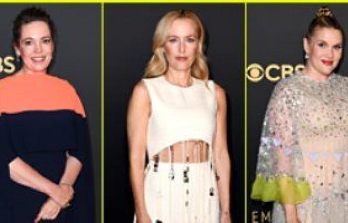 أوليفيا كولمان وجيليان أندرسون وإيميرالد فينيل على السجادة الحمراء لحفل Emmy