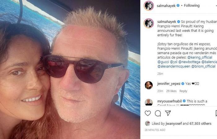 """سلمى حايك فى صورة رومانسية مع زوجها برحلة بحرية: """"فخورة بفرانسوا هنري"""""""