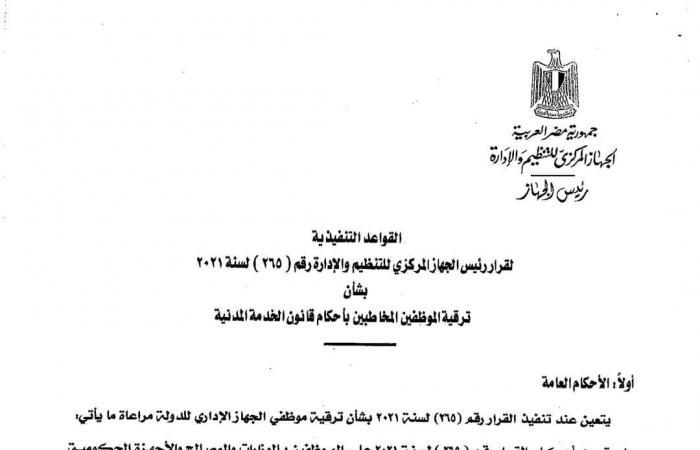 القواعد التنفيذية لقرار الحكومة بترقية أكثر من 800 الف موظف بالجهاز الإداري للدولة ؟