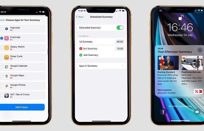 استخدام ملخص التنبيهات في iOS 15